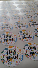 Floral Hey You Matt Paper Stickers 37mm Envelope Seal Packaging Add Your Text Option